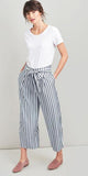 Drew Wide Leg Pant in Navy Chalk Stripe by Joules
