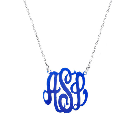 Acrylic Script Initial Monogram Necklace
