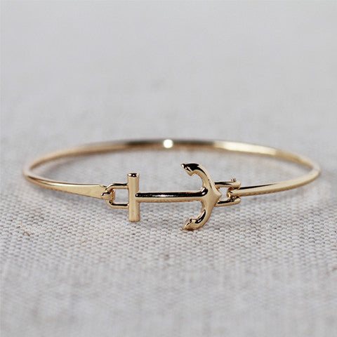 Gold Anchor Latch Bracelet