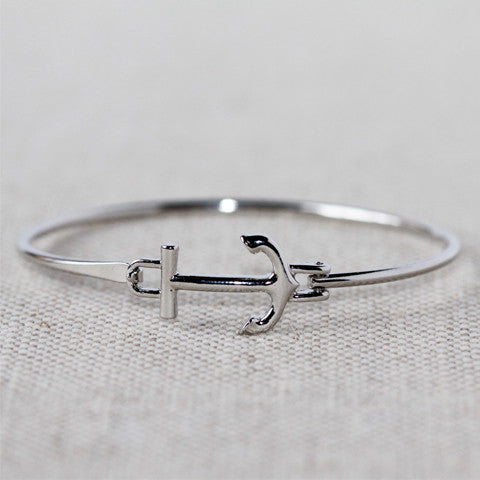 Silver Anchor Latch Bracelet