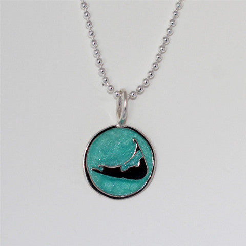 Small Enamel Nantucket Island Charm in Pearlized Aqua