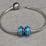 Aqua Stripe Glass Bead