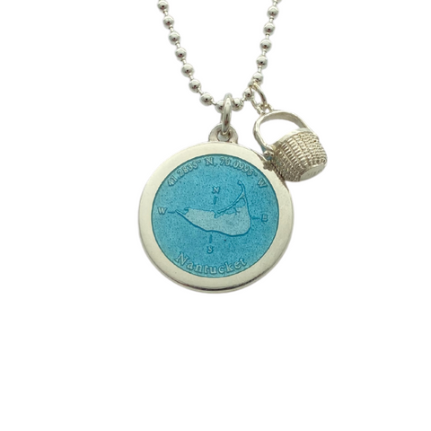 Medium Colby Davis Silver Nantucket Necklace in Light Blue