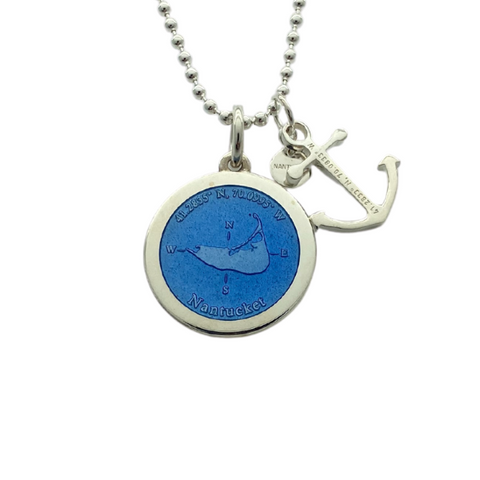 Medium Colby Davis Silver Nantucket Necklace in French Blue