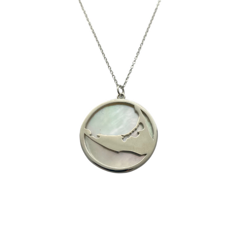 Silver Island Necklace with Mother of Pearl Back