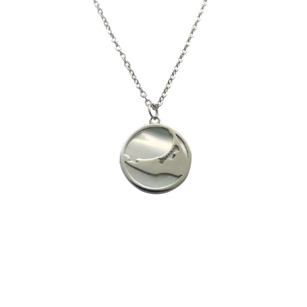 Small Silver Island Necklace with Mother of Pearl Back