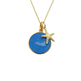 Small Colby Davis Gold Nantucket Island Necklace in French Blue