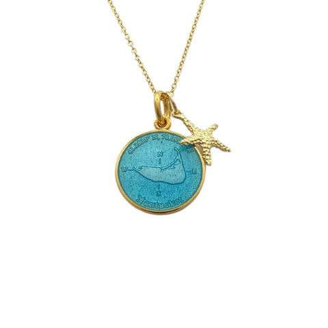 Small Colby Davis Gold Nantucket Island Necklace in Light blue