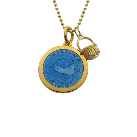 Medium Colby Davis Gold Nantucket Necklace in French Blue