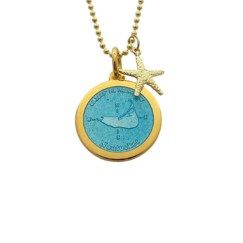 Medium Colby Davis Gold Nantucket Necklace in Light Blue
