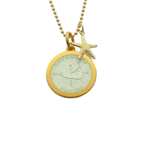 Medium Colby Davis Gold Nantucket Necklace in White