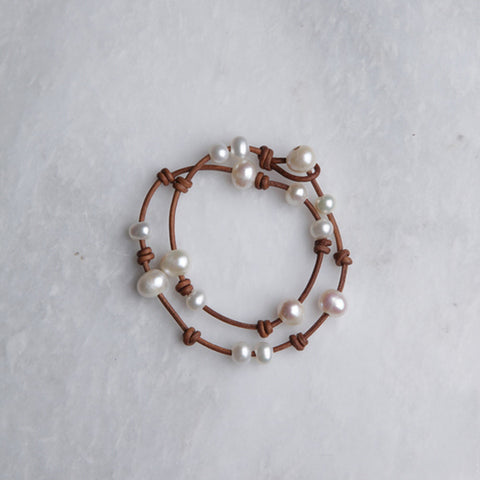 Avalon Pearl Bracelet in Tan by Brewster Designs