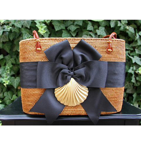 Large Oval Basket-Black Ribbon/Gold Scallop