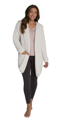 Boucle Hooded Cardi in Almond