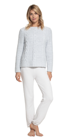 Heathered Cable Pullover in Ocean/White