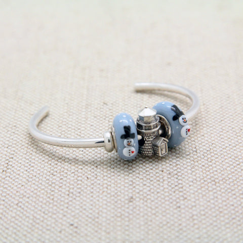 Cuff Bracelet with Brant Point Lighthouse Charm Bead