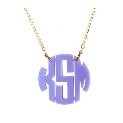 Block Monogram Acrylic Necklace