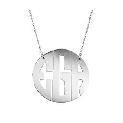 Block Monogram Necklace in Sterling Silver by Jane Basch