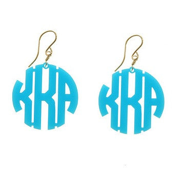 Acrylic Block Monogram Earrings