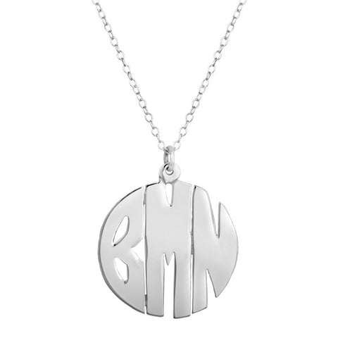 Sterling Silver Hand Cut Block Monogram Necklace
