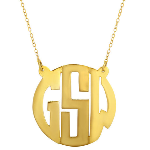Hand Cut Block Monogram Necklace