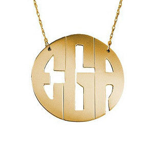 Block Monogram Necklace in Gold by Jane Basch