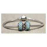 Blue and Green Argyle Glass Bead