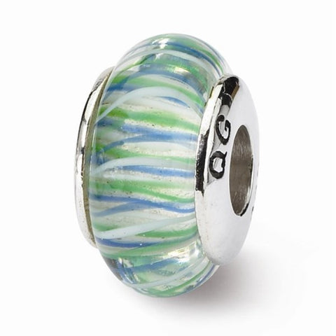 Blue and Green Striped Glass Bead