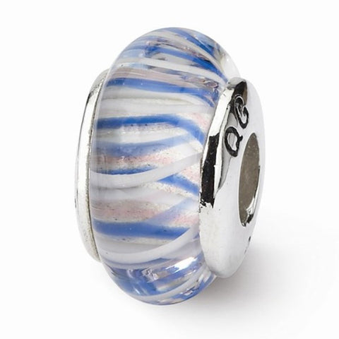 Blue and Pink Striped Glass Bead
