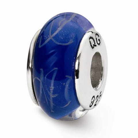 Blue Symbol Glass Bead