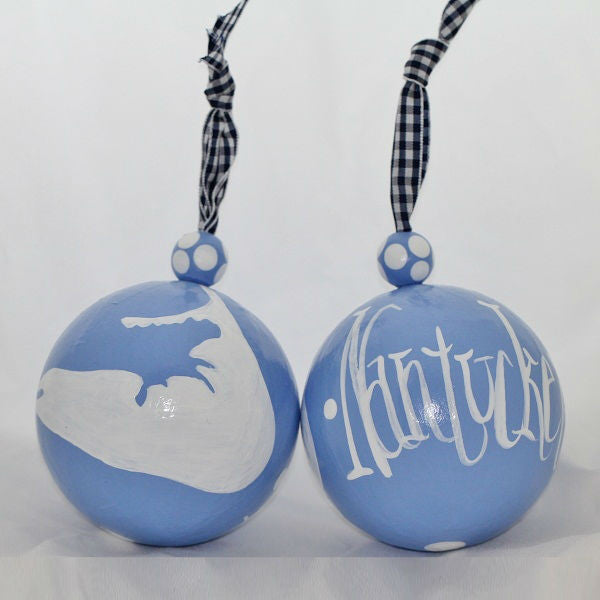 Blue & White Nantucket Island Ornament