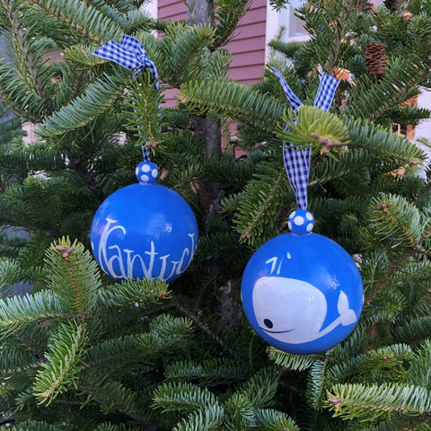 Blue with White Whale Ornament