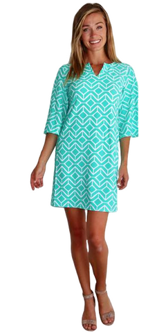 Bree Dress in Sail Geo Seafoam
