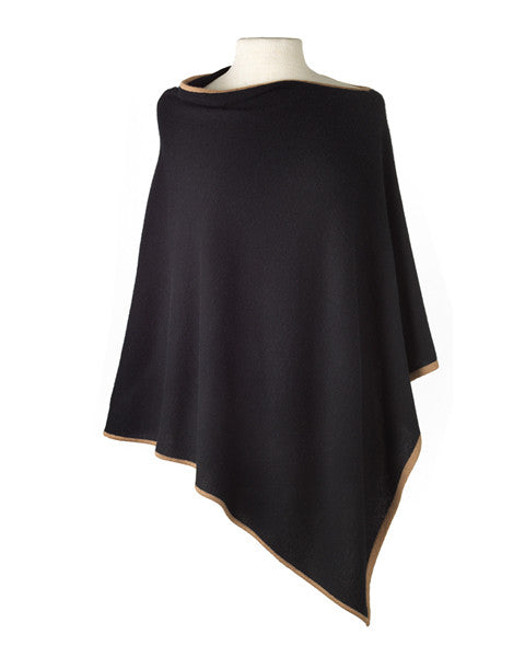 Cashmere Cape in Black Tipped With Camel