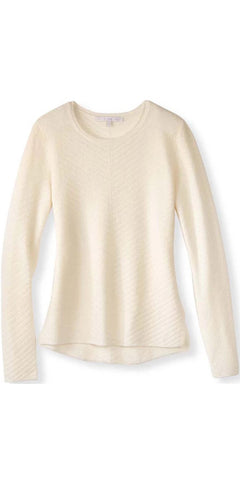 Cashmere Chevron Crew Sweater in Ivory