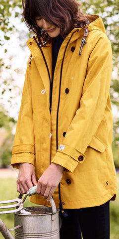 Coast Mid Waterproof Jacket in Antique Gold by Joules
