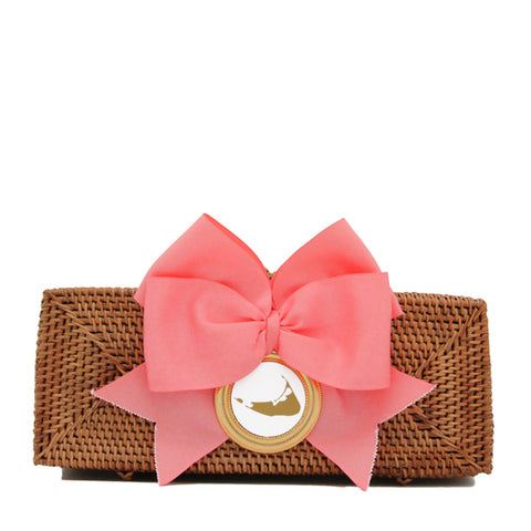 Nantucket Straw Clutch with Coral Bow