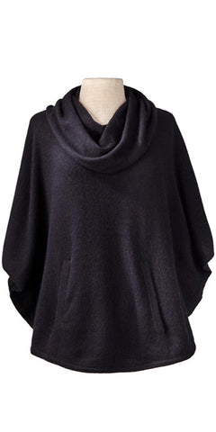 Cashmere Cowl Neck Poncho in Black