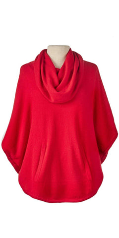 Cashmere Cowl Neck Poncho in Cardinal