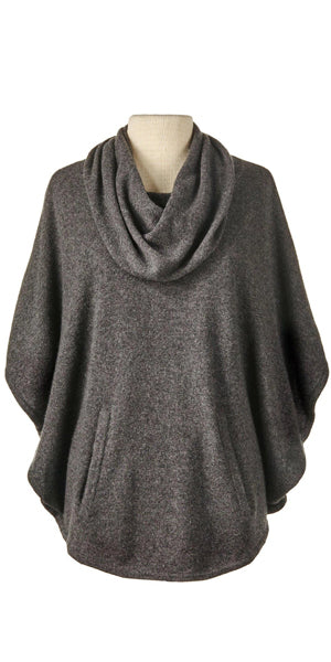 Cashmere Cowl Neck Poncho in Charcoal
