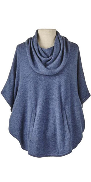 Cashmere Cowl Neck Poncho in Denim