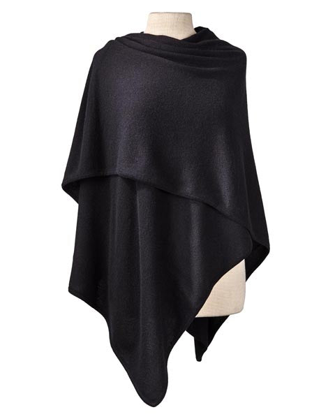 Cashmere Crossover Wrap in Black