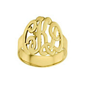 14kt Gold Hand Cut Monogram Ring