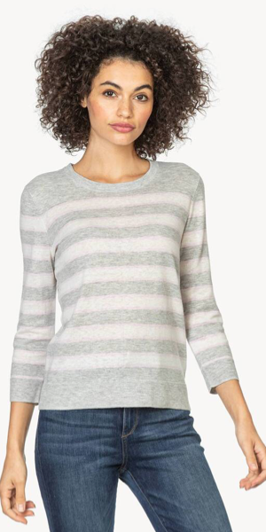 Striped Crewneck Sweater in Lilac