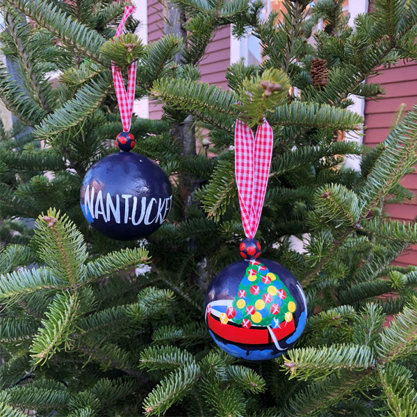 Christmas Dory Boat Nantucket Island Ornament