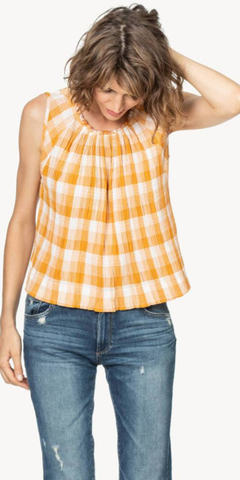 Shirred Neck Check Tank in Marigold