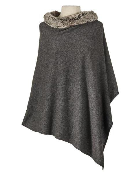 Faux Fur Poncho in Charcoal