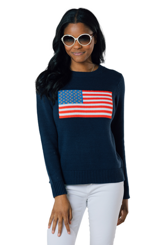 Flag Intarsia Sweater in Navy