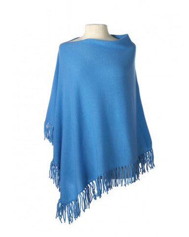 Cashmere Fringed Cape in Aegean