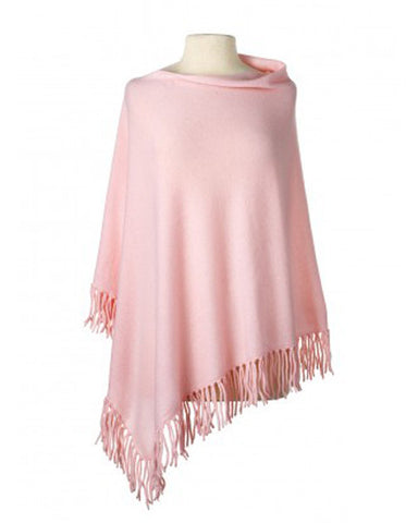 Cashmere Fringe Cape in Blush